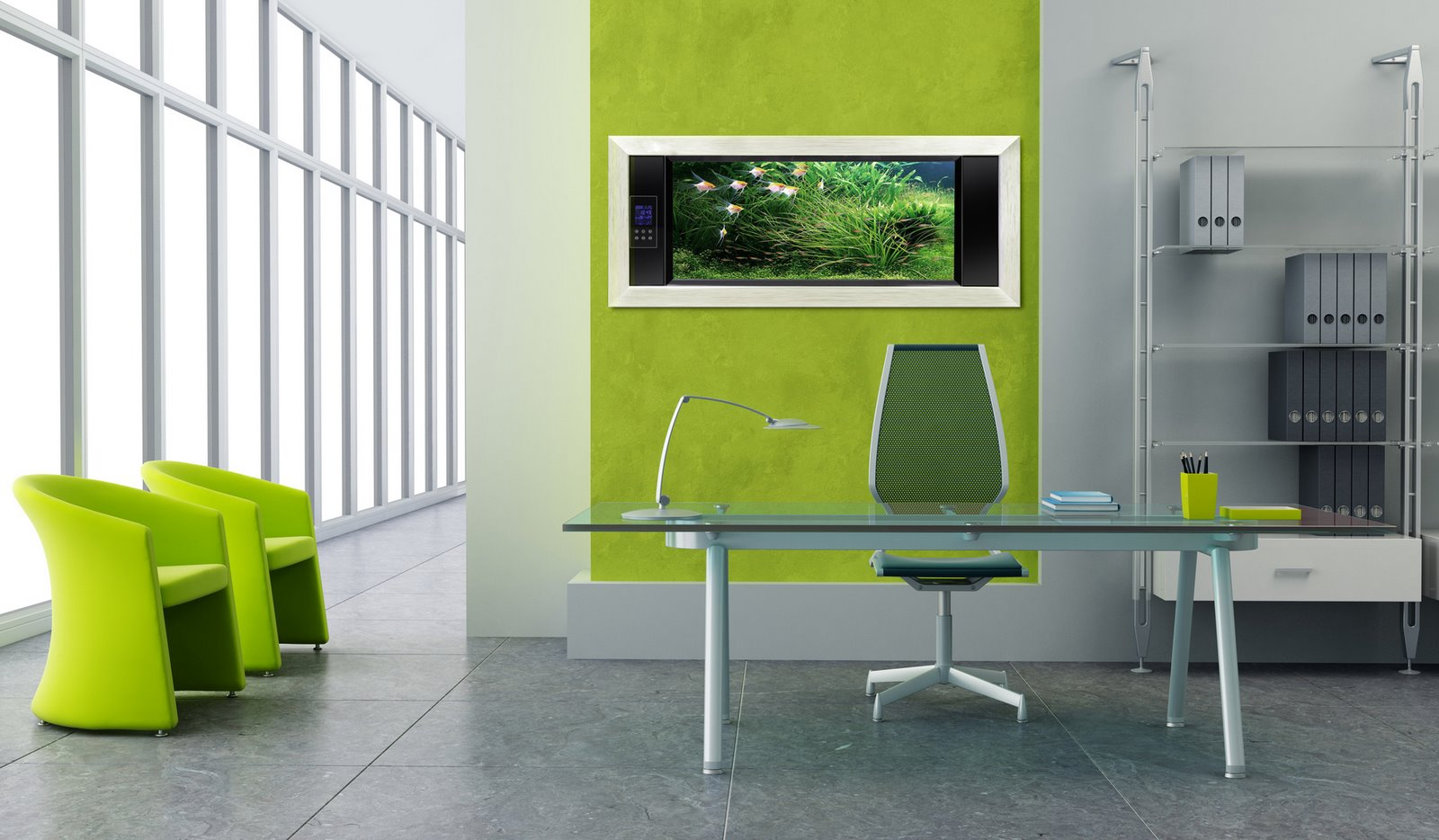 Table-Glass-and-Green-Chair-for-Inspiration-Design-with-Modern-Office-Ideas-Decorating
